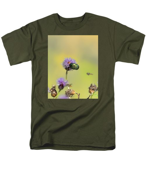 Men's T-Shirt  (Regular Fit) featuring the photograph Two Beetles On A Thistle Flower by Leif Sohlman