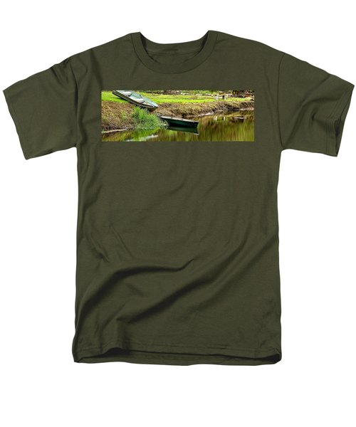Two Boats Reflection 1024 Men's T-Shirt  (Regular Fit) by Jerry Sodorff