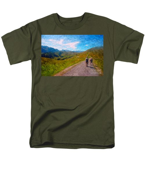 Two Hikers In Adelboden Men's T-Shirt  (Regular Fit) by Gerhardt Isringhaus
