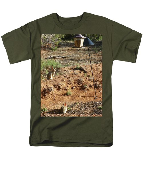 Men's T-Shirt  (Regular Fit) featuring the photograph Two Rabbits And Bird Feeder by Joseph Frank Baraba