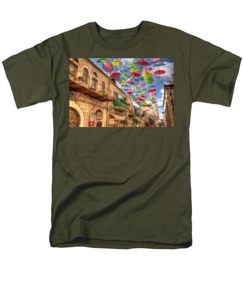 Men's T-Shirt  (Regular Fit) featuring the photograph Umbrellas Over Jerusalem by Uri Baruch