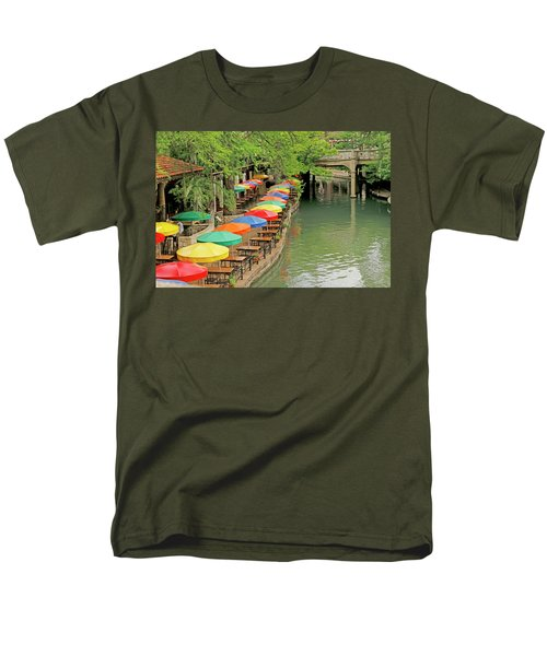 Men's T-Shirt  (Regular Fit) featuring the photograph Umbrellas Along River Walk - San Antonio by Art Block Collections