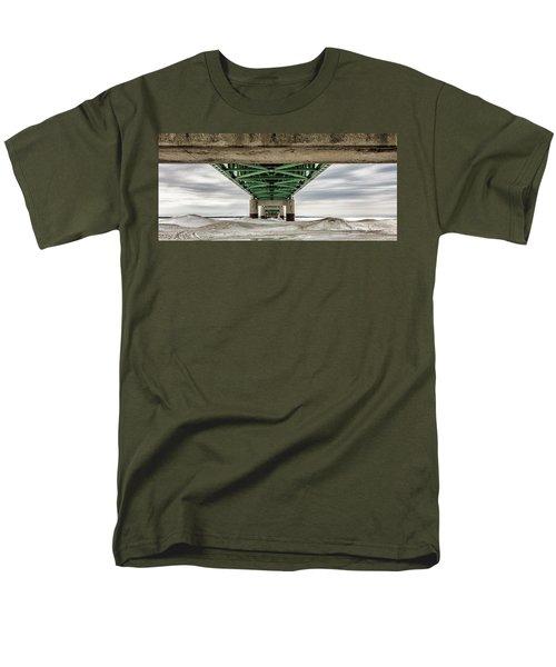 Men's T-Shirt  (Regular Fit) featuring the photograph Under Mackinac Bridge Winter by John McGraw