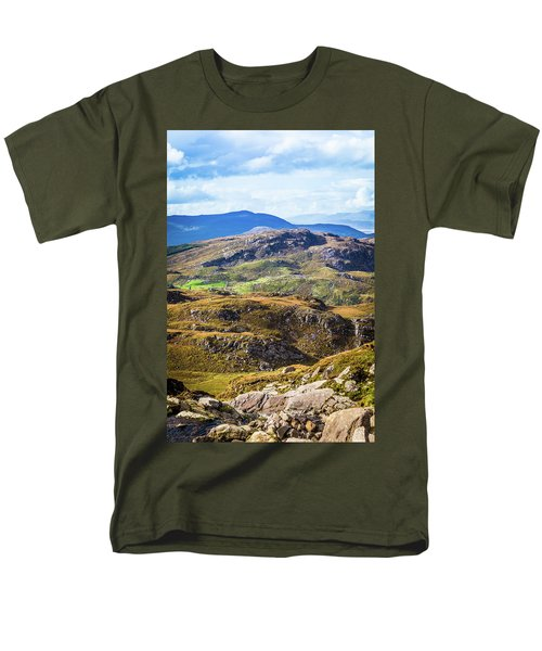 Men's T-Shirt  (Regular Fit) featuring the photograph Undulating Green, Purple And Yellow Rocky Landscape In  Ireland by Semmick Photo