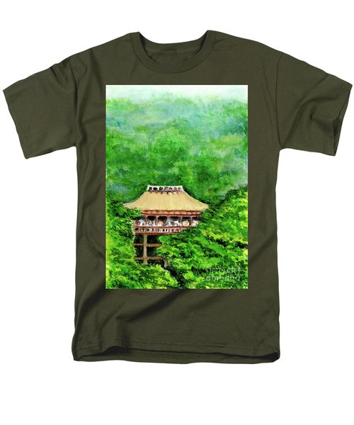 Men's T-Shirt  (Regular Fit) featuring the painting Up High Temple by Yoshiko Mishina