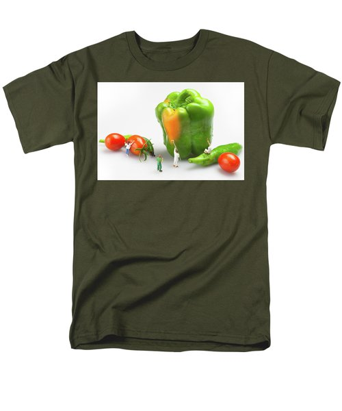 Men's T-Shirt  (Regular Fit) featuring the painting Vegetable Painting Little People On Food by Paul Ge