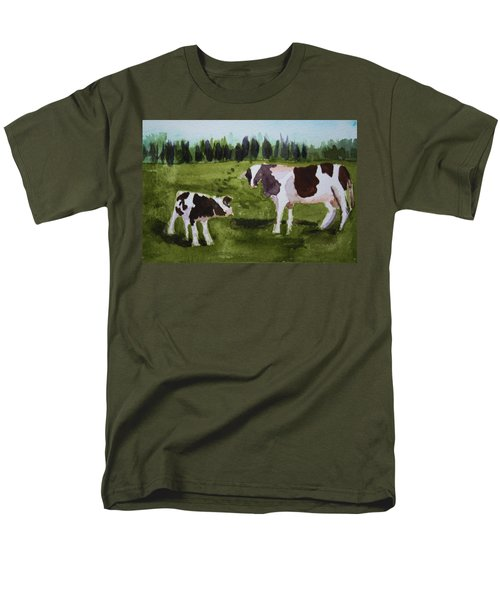 Men's T-Shirt  (Regular Fit) featuring the painting Vermont Cow And Calf by Donna Walsh