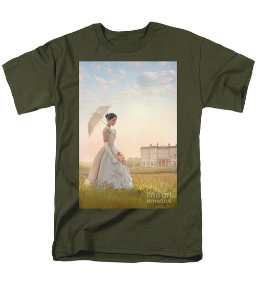 Victorian Woman With Parasol And Fan Men's T-Shirt  (Regular Fit) by Lee Avison