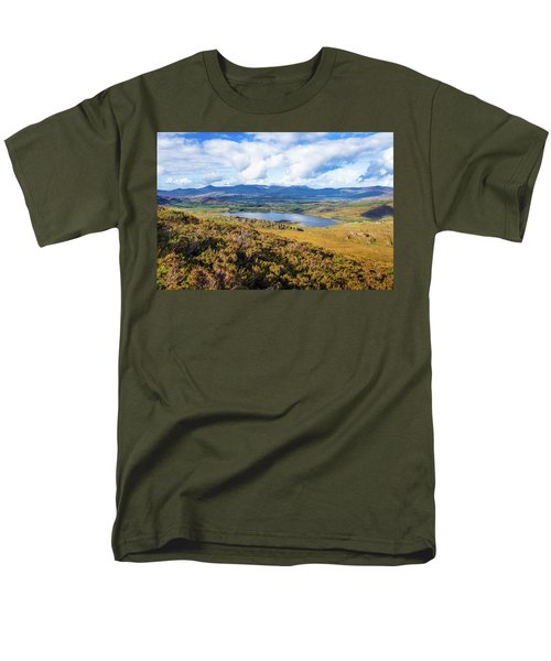 Men's T-Shirt  (Regular Fit) featuring the photograph View Of Lough Acoose In Ballycullane From The Foothill Of Macgil by Semmick Photo