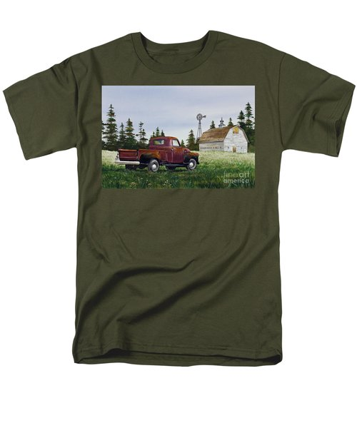 Men's T-Shirt  (Regular Fit) featuring the painting Vintage Country Pickup by James Williamson