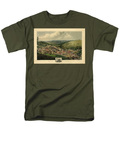Men's T-Shirt  (Regular Fit) featuring the photograph Vintage Pottsville Pennsylvania Etching With Remarque by John Stephens