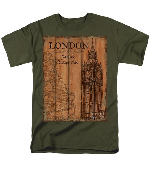 Men's T-Shirt  (Regular Fit) featuring the painting Vintage Travel London by Debbie DeWitt