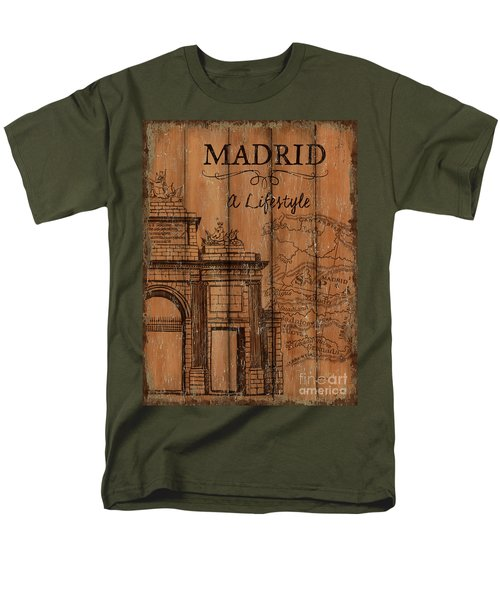 Men's T-Shirt  (Regular Fit) featuring the painting Vintage Travel Madrid by Debbie DeWitt