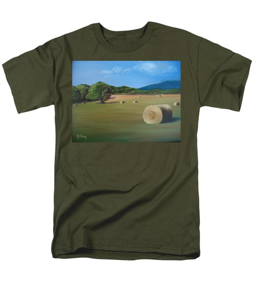 Men's T-Shirt  (Regular Fit) featuring the painting Virginia Hay Bales by Donna Tuten