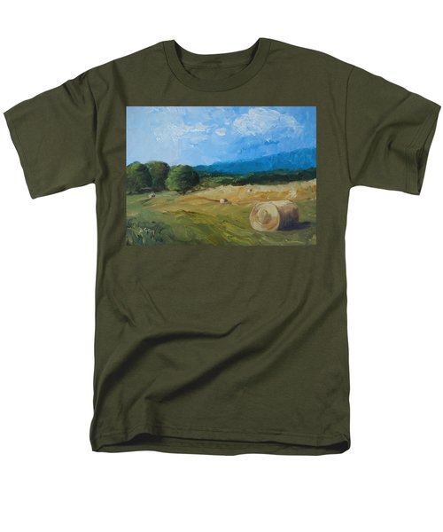 Men's T-Shirt  (Regular Fit) featuring the painting Virginia Hay Bales II by Donna Tuten