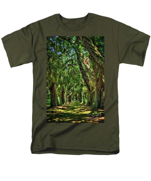 Men's T-Shirt  (Regular Fit) featuring the photograph Walk With Me Avenue Of Oaks St Simons Island Art by Reid Callaway
