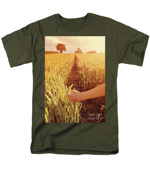 Men's T-Shirt  (Regular Fit) featuring the photograph Walking Through Wheat Field by Lyn Randle