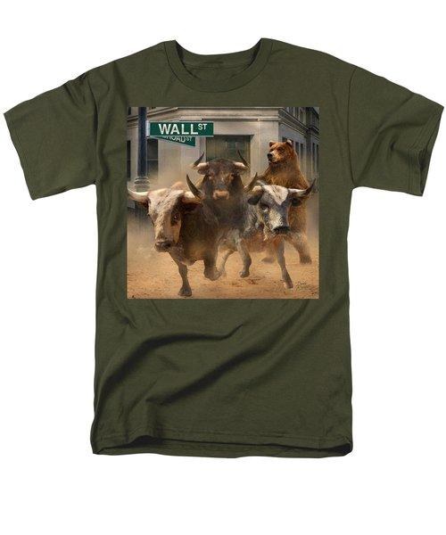 Wall Street -- Bull And Bear Markets Men's T-Shirt  (Regular Fit) by Doug Kreuger