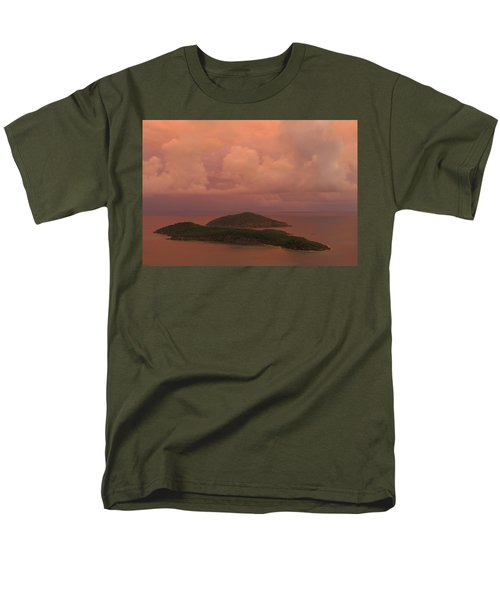 Men's T-Shirt  (Regular Fit) featuring the photograph Warm Sunset Palette Of Inner And Outer Brass Islands From St. Thomas by Jetson Nguyen