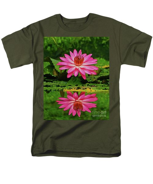 Men's T-Shirt  (Regular Fit) featuring the photograph Hot Pink Water Lily Reflection by Larry Nieland