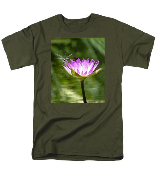 Men's T-Shirt  (Regular Fit) featuring the photograph Water Lily With Dragon Fly by Bill Barber
