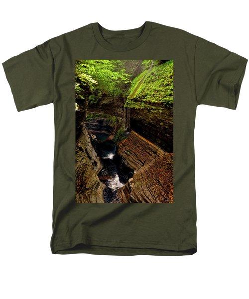 Watkins Glen State Park - Rainbow Falls 003 Men's T-Shirt  (Regular Fit) by George Bostian