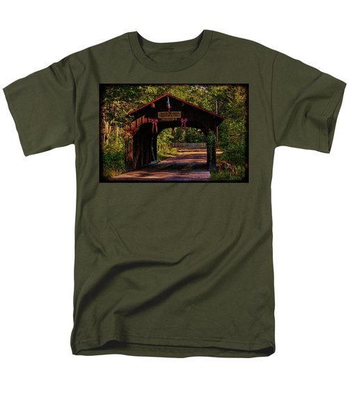 Men's T-Shirt  (Regular Fit) featuring the photograph Waupaca Covered Bridge by Trey Foerster