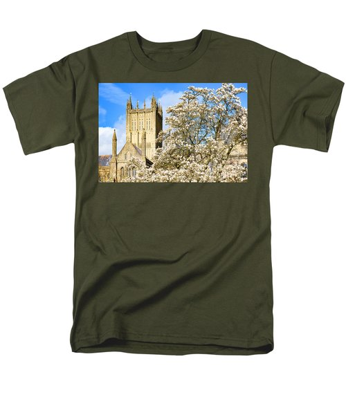 Wells Cathedral And Spring Blossom Men's T-Shirt  (Regular Fit) by Colin Rayner