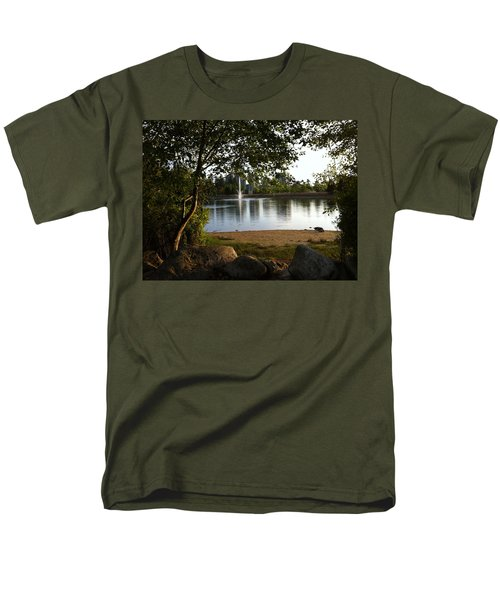 Men's T-Shirt  (Regular Fit) featuring the painting West View Of Lafarge Lake by Rod Jellison