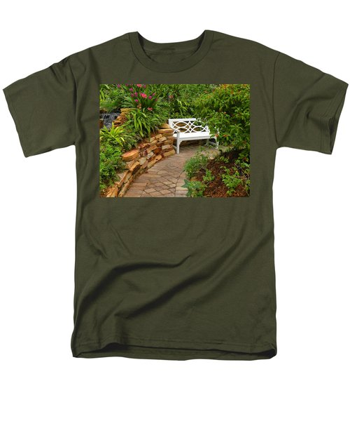 White Bench In The Garden Men's T-Shirt  (Regular Fit) by Rosalie Scanlon