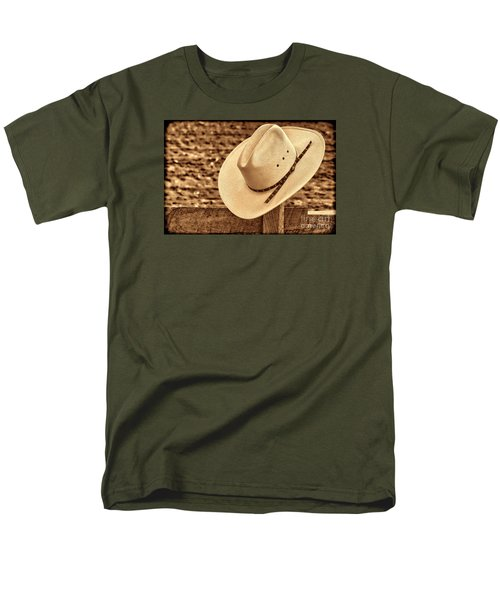 White Cowboy Hat On Fence Men's T-Shirt  (Regular Fit) by American West Legend By Olivier Le Queinec