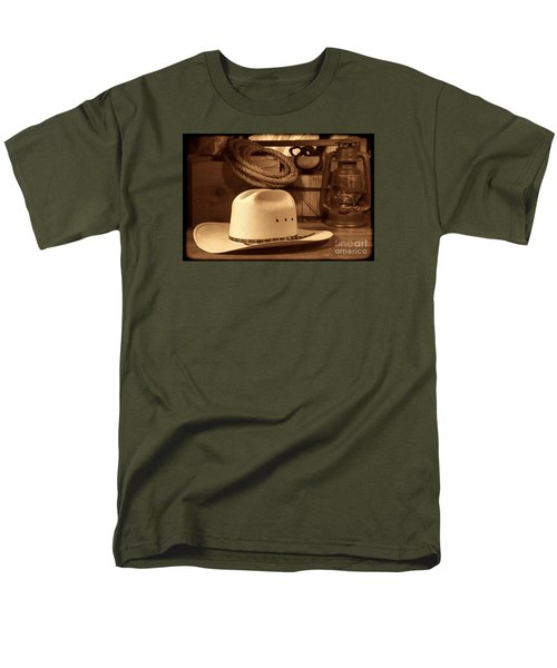 White Cowboy Hat On Workbench Men's T-Shirt  (Regular Fit) by American West Legend By Olivier Le Queinec