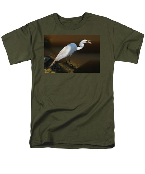 White Egret Fishing For Midday Meal II Men's T-Shirt  (Regular Fit) by Suzanne Gaff