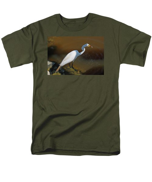White Egret Fishing For Midday Meal Men's T-Shirt  (Regular Fit) by Suzanne Gaff