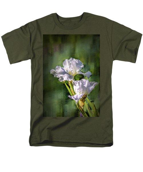 White Iris On Abstract Background #g4 Men's T-Shirt  (Regular Fit)