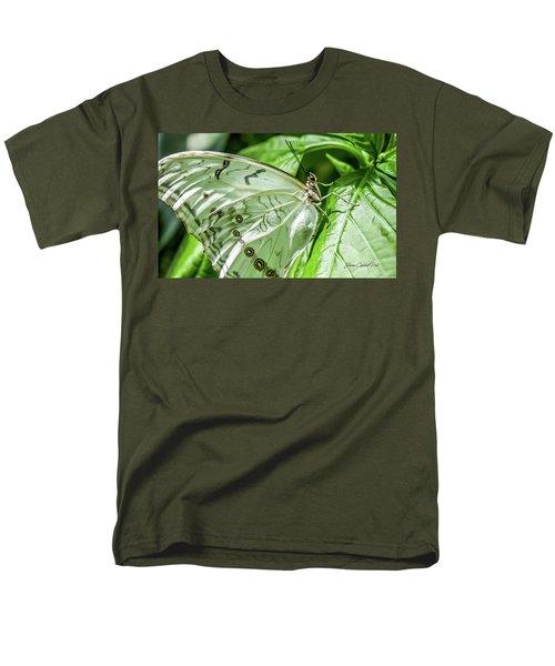 Men's T-Shirt  (Regular Fit) featuring the photograph White Morpho Butterfly by Joann Copeland-Paul