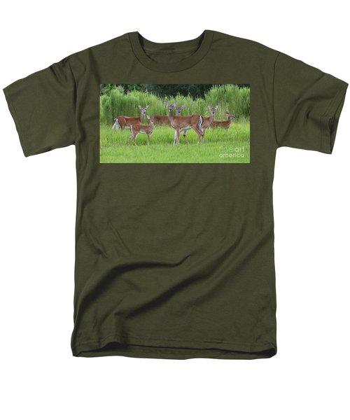 Whitetail Deer Gathering Men's T-Shirt  (Regular Fit) by Myrna Bradshaw