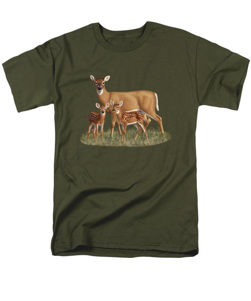 Whitetail Doe And Fawns - Mom's Little Spring Blossoms Men's T-Shirt  (Regular Fit) by Crista Forest