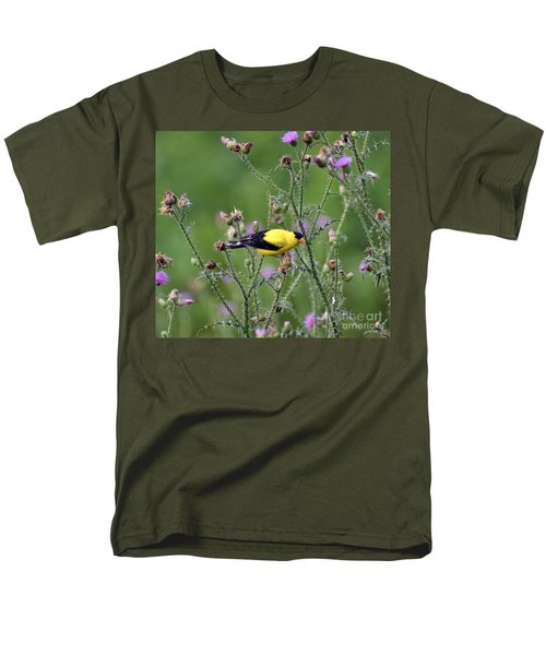 Wild Birds - American Goldfinch Male Men's T-Shirt  (Regular Fit) by Kerri Farley