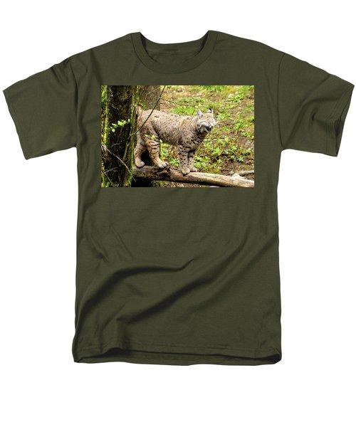 Wild Bobcat In Mountain Setting Men's T-Shirt  (Regular Fit) by Teri Virbickis