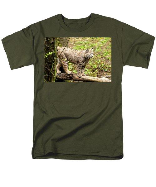 Wild Bobcat Men's T-Shirt  (Regular Fit) by Teri Virbickis