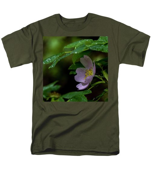 Men's T-Shirt  (Regular Fit) featuring the photograph Wild Rose With Shelter by Darcy Michaelchuk