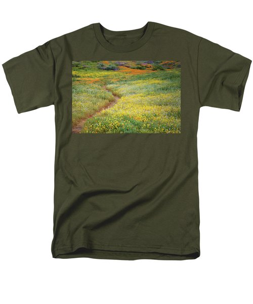 Men's T-Shirt  (Regular Fit) featuring the photograph Wildflower Field Near Diamond Lake In California by Jetson Nguyen