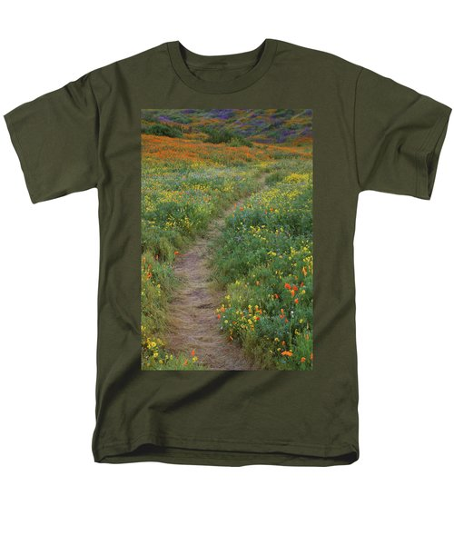 Men's T-Shirt  (Regular Fit) featuring the photograph Wildflower Trail At Diamond Lake In California by Jetson Nguyen