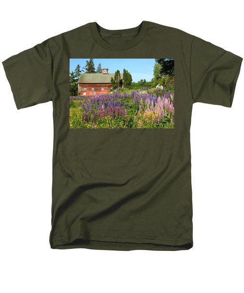 Men's T-Shirt  (Regular Fit) featuring the photograph Wildflowers And Red Barn by Roupen  Baker