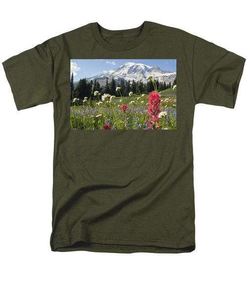 Wildflowers In Mount Rainier National Men's T-Shirt  (Regular Fit) by Dan Sherwood