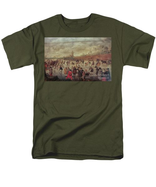 Men's T-Shirt  (Regular Fit) featuring the photograph Winter Fun Painting By Barend Avercamp by Patricia Hofmeester