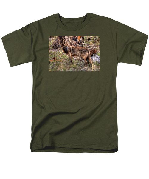 Wolf Looking Back Men's T-Shirt  (Regular Fit) by CR  Courson