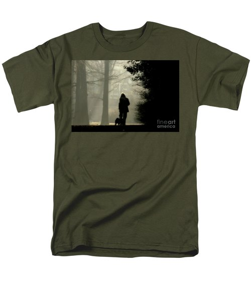 Men's T-Shirt  (Regular Fit) featuring the photograph Woman Walking Dog by Patricia Hofmeester