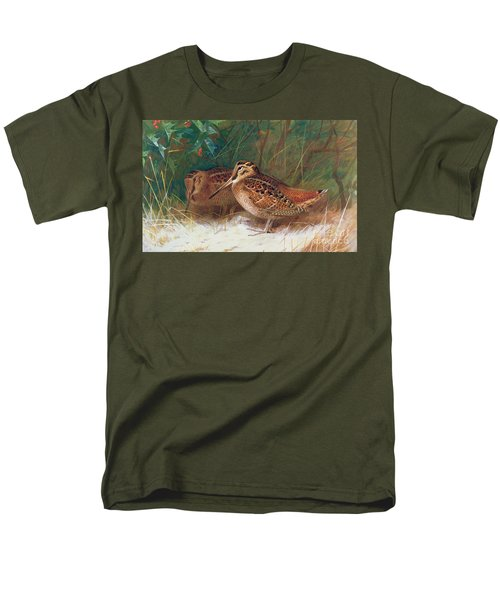 Woodcock In The Undergrowth Men's T-Shirt  (Regular Fit) by Archibald Thorburn